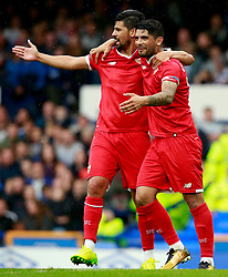 Ever Banega of Sevilla celebrates with Nolito after scoring his sides second goal - Mandatory by-line: Matt McNulty/JMP - 06/08/2017 - FOOTBALL - Goodison Park - Liverpool, England - Everton v Sevilla - Pre-season friendly