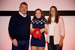 NEWPORT, WALES - Saturday, May 19, 2018: Maria Francis-Jones is presented with her Under-16's cap by Osian Roberts (left) and Lauren Dykes (right) during the Football Association of Wales Under-16's Caps Presentation at the Celtic Manor Resort. (Pic by David Rawcliffe/Propaganda)