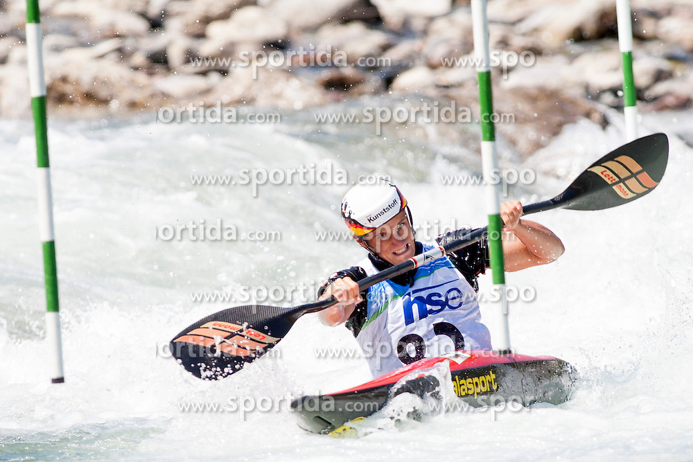 Sabastian Schubert of Germany during Kayak(K1) Man final race at ICF Canoe Slalom World Cup Sloka 2013, on August 17, 2013, in Tacen, Ljubljana, Slovenia. (Photo by Urban Urbanc / Sportida.com)