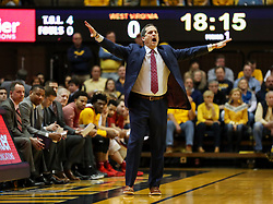 Feb 24, 2018; Morgantown, WV, USA; Iowa State Cyclones head coach Steve Prohm yells from the bench during the first half against the West Virginia Mountaineers at WVU Coliseum. Mandatory Credit: Ben Queen-USA TODAY Sports