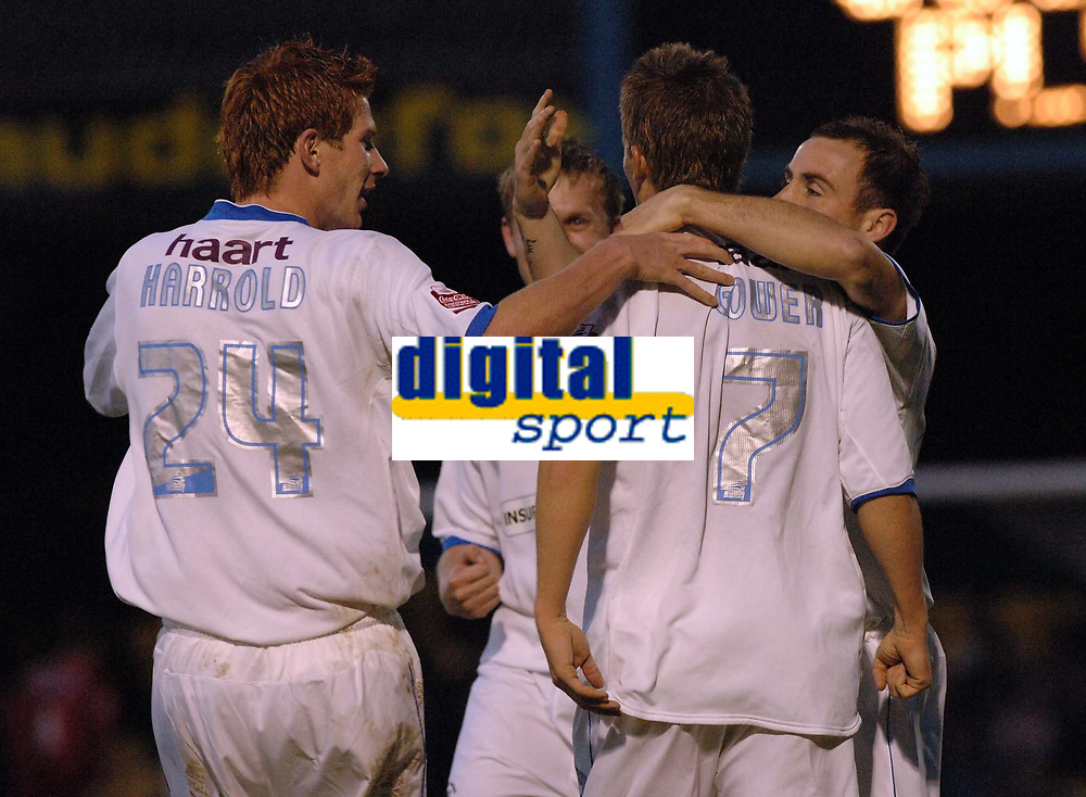 Photo: Ashley Pickering.<br />Southend United v Plymouth Argyle. Coca Cola Championship. 18/11/2006.<br />Southend's Mark Gower celebrates with team mates after scoring the equaliser