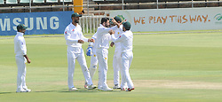Johannesburg 19-12-18. South Africa Invitation XI vs Pakistan. Pakistan open their tour of South Africa with a three-day match at Sahara Willowmoore Park, Benoni. Day 1, afternoon session.  Pakistan team mates celebrate the wicket of Richards for 98 runs off 134 balls. Picture: Karen Sandison/African News Agency(ANA)