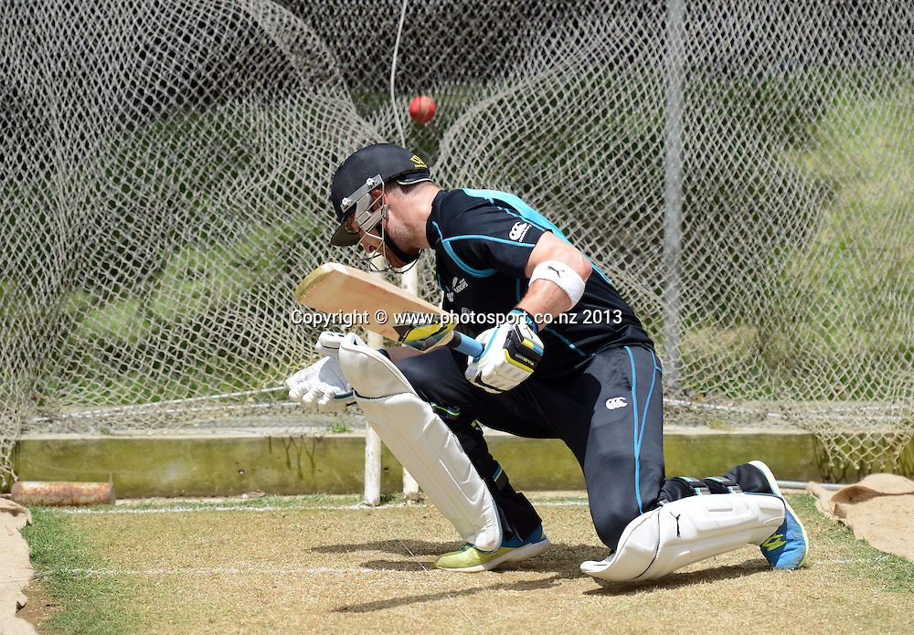 New Zealand Cricket captain Brendon McCullum during a training session in the nets ahead of the 2nd test match against the West Indies starting at the Basin Reserve in Wellington tomorrow. Tuesday 10 December 2013. Photo: Andrew Cornaga / www.Photosport.co.nz