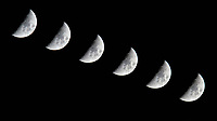 Waxing Crescent Moon. Composite of six images (15 second interval) taken with a Nikon D810a camera and 600 mm f/4 VR lens (ISO 800, 600 mm, f/11, 1/250 sec). Raw images processed with Capture One Pro and Photoshop (scripts, maximum).