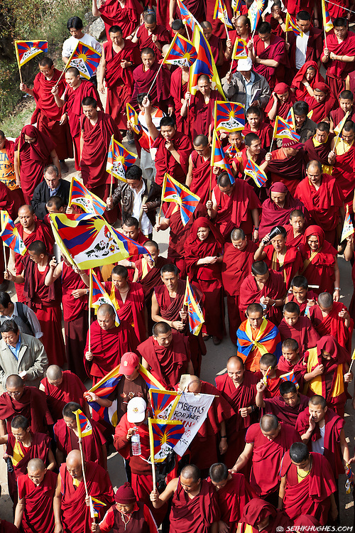 A passionate crowd of Tibetan expatriates march in protest on the streets of McLeodGanj, Dharamsala, India.