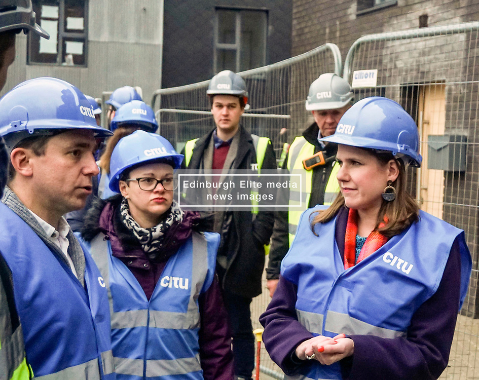 Pictured: <br /> Liberal Democrat Leader Jo Swinson, meets with staff as she visits the Little Kelham with sustainable urban development company Citu during a General Election campaign trail stop in Sheffield. Britain will go to the polls on December 12, 2019 to vote in a pre-Christmas general election<br /> <br /> Giannis Alexopoulos   EEm date