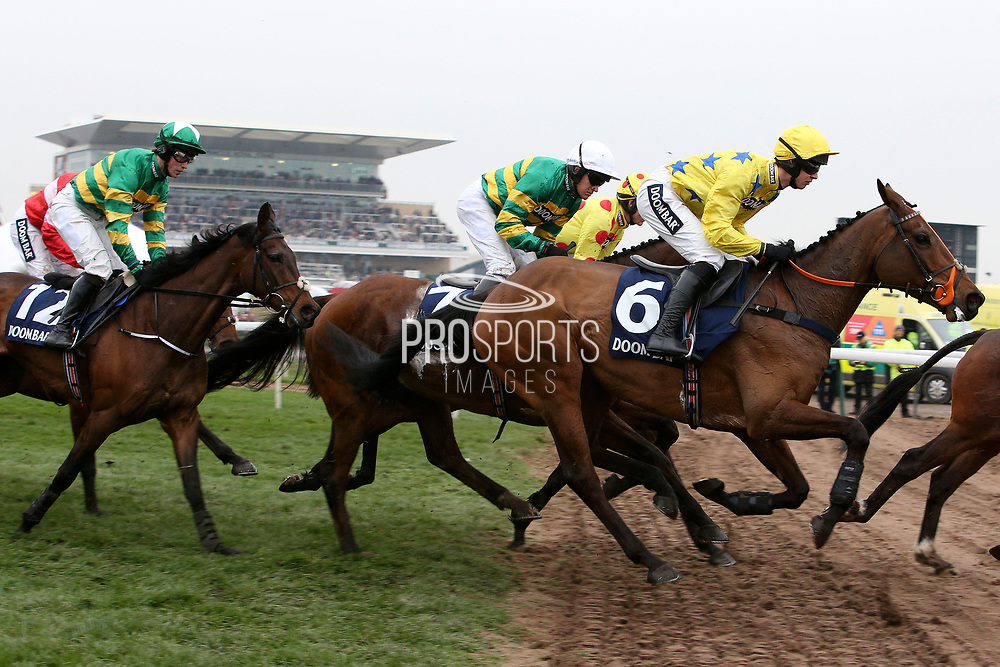 Louse Talk (6) OK Corall (7) and third placed  Tower Bridge (3) in The Doom Bar Sefton Novices Hurdle Race on Ladies Day at Aintree, Liverpool, United Kingdom on 13 April 2018. at Aintree, Liverpool, United Kingdom on 13 April 2018. Picture by Craig Galloway.