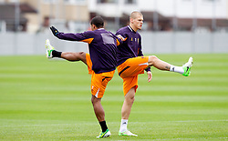 LIVERPOOL, ENGLAND - Wednesday, November 7, 2012: Liverpool's Martin Skrtel and Glen Johnson during a training session at the club's Melwood Training Ground ahead of the UEFA Europa League Group A match against FC Anji Makhachkala. (Pic by Vegard Grott/Propaganda)