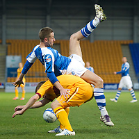 St Johnstone v Motherwell...03.11.12      SPL<br /> Steven MacLean and Steven Hammell<br /> Picture by Graeme Hart.<br /> Copyright Perthshire Picture Agency<br /> Tel: 01738 623350  Mobile: 07990 594431