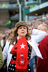 LIVERPOOL, ENGLAND - Thursday, April 6, 2017: A race goer reacts, during The Opening Day on Day One of the Aintree Grand National Festival 2017 at Aintree Racecourse. (Pic by David Rawcliffe/Propaganda)