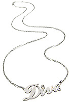 diva necklace on a silver chain