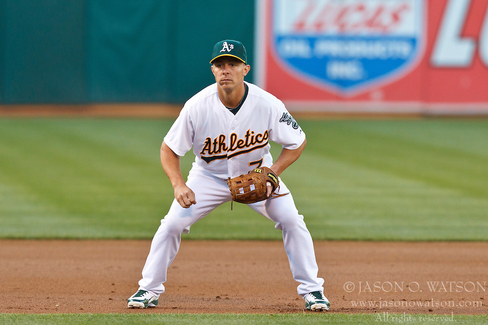 OAKLAND, CA - AUGUST 02: Brandon Inge #7 of the Oakland Athletics stands in the infield against the Toronto Blue Jays during the first inning at O.co Coliseum on August 2, 2012 in Oakland, California. The Oakland Athletics defeated the Toronto Blue Jays 4-1. (Photo by Jason O. Watson/Getty Images) *** Local Caption *** Brandon Inge
