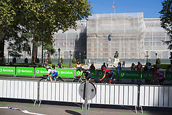 The front of the race on Stage 2 of the Madrid Challenge - a 100.3 km road race, starting and finishing in Madrid on September 16, 2018, in Spain. (Photo by Balint Hamvas/Velofocus.com)