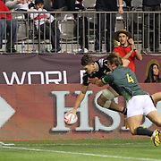 NZ All Black, Lewis Ormond, scored the winning try in the 2nd half with 8:48 left to seal the victory and Championship Cup over the South African Springboks, 19-14 at the Canada 7's, BC Place, Vancouver, British Columbia, Canada.  Photo by Barry Markowitz, 4/13/16, 6:30pm