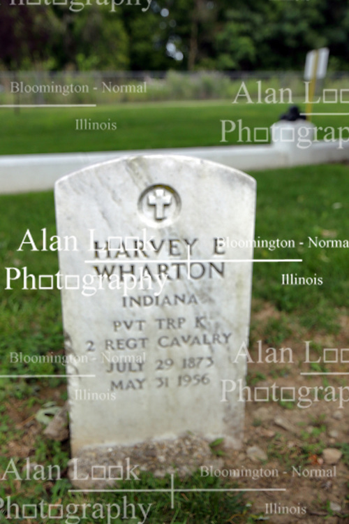26 August 2017:   A part of the History of McLean County Illinois.<br /> <br /> Tombstones in Evergreen Memorial Cemetery.  Civic leaders, soldiers, and other prominent people are featured. Section 5, the old town soldiers area<br /> Harvey E Wharton  Indiana  Private Trp K  2 REGT  Cavalry  July 1873  May 31 1956