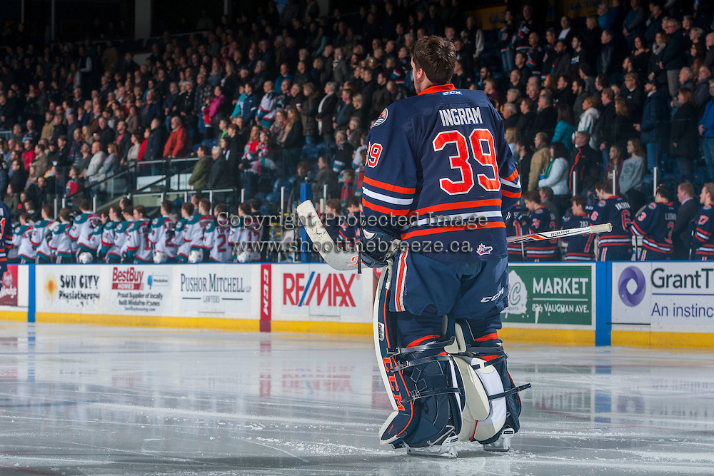 KELOWNA, CANADA - JANUARY 27: Connor Ingram #39 of the Kamloops Blazers stands on the ice against the Kelowna Rockets on January 27, 2017 at Prospera Place in Kelowna, British Columbia, Canada.  (Photo by Marissa Baecker/Shoot the Breeze)  *** Local Caption ***