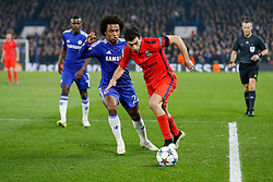 Javier Pastore of Paris Saint-Germain is challenged by Willian of Chelsea - Photo mandatory by-line: Rogan Thomson/JMP - 07966 386802 - 11/03/2015 - SPORT - FOOTBALL - London, England - Stamford Bridge - Chelsea v Paris Saint-Germain - UEFA Champions League Round of 16 Second Leg.