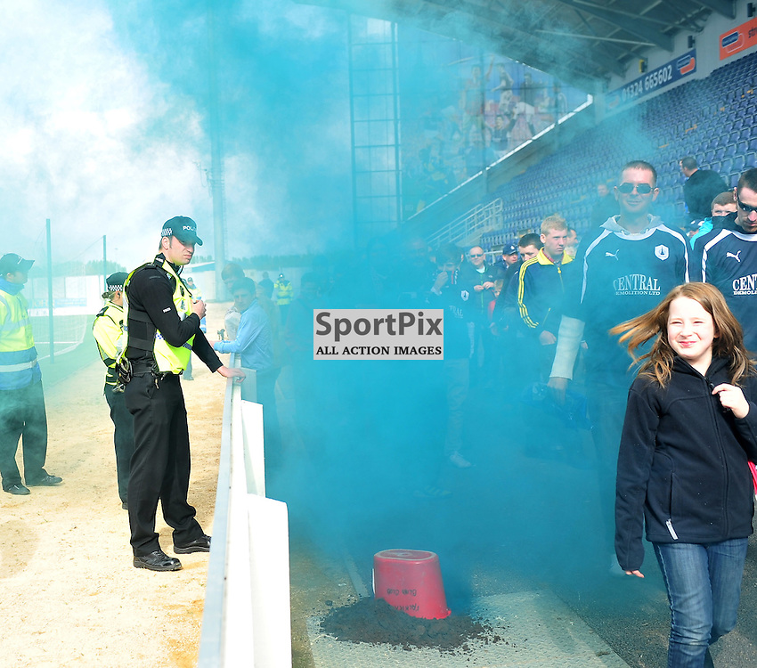 Falkirk fans let off a smoke bomb at the end..Falkirk v Ayr, SFL 1st Division, Saturday 5th May 2012..ALEX TODD | STOCKPIX.EU