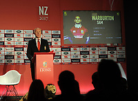 Rugby Union - 2017 British & Irish Lions Tour to New Zealand - Squad & Captain Announcement Press Conference<br /> <br /> Tour Manager, John Spencer announces the Lions Captain, Sam Warburton on the big screen at the Hilton Syon Park, London.<br /> <br /> COLORSPORT/ANDREW COWIE
