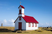 19th Century corrugated iron church with red roof Pykkvabaejarklauster at Alftaver, Myrdalssandur, South Iceland