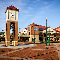 Picture of Peoria Illinois riverfront businesses and clock tower.