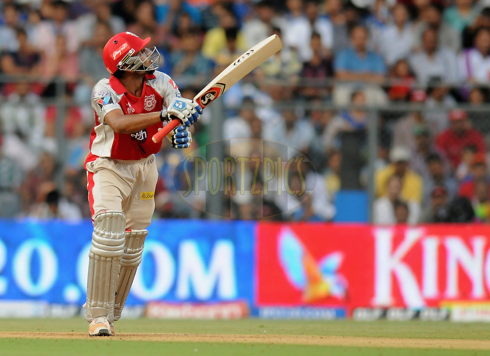 Nitin Saini of Kings XI Punjab bats during match 28 of the Indian Premier League ( IPL) 2012  between The Mumbai Indians and the Kings X1 Punjab held at the Wankhede Stadium in Mumbai on the 22nd April 2012..Photo by Pal Pillai/IPL/SPORTZPICS.
