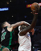 Boston Celtics forward Daniel Theis #27 fouls LA Clippers forward Montrezl Harrell #5 in the first half. The Los Angeles Clippers played the Boston Celtics in a regular season NBA matchup in Los Angeles, CA 1/025/2018 (Photo by John McCoy, Los Angeles Daily News/SCNG)