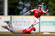 Holy Redeemer&rsquo;s Tucker Ell eyes the ball as Central High School&rsquo;s Jarret Imler safely slides back to second during the PIAA Class 3A baseball championship at Medlar Field at Penn State on Thursday, June 15, 2017.<br />
