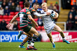 Toby Fricker of Bristol Bears takes on Jonny May of Leicester Tigers - Mandatory by-line: Robbie Stephenson/JMP - 04/01/2020 - RUGBY - Welford Road - Leicester, England - Leicester Tigers v Bristol Bears - Gallagher Premiership Rugby