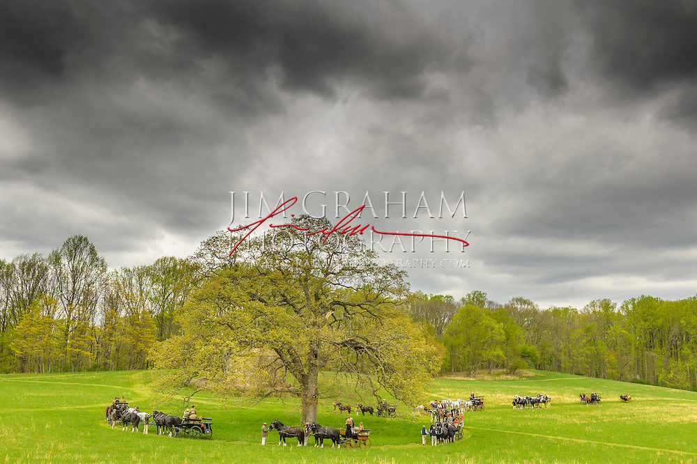 Carriages gather in the center of the Watertower Field during the second of three drives from The Big Bend Farm in Chadds Ford, Pa., Saturday 2 May 2015. Photography by Jim Graham