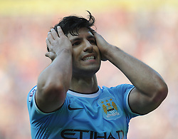 Manchester City's Sergio Aguero gutted after coming close to scoring.  - Photo mandatory by-line: Alex James/JMP - Tel: Mobile: 07966 386802 25/08/2013 - SPORT - FOOTBALL - Cardiff City Stadium - Cardiff -  Cardiff City V Manchester City - Barclays Premier League