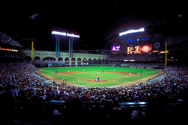 Stock photo of Enron Field (Currently Minute Maid Park) during a night Houston Astros game