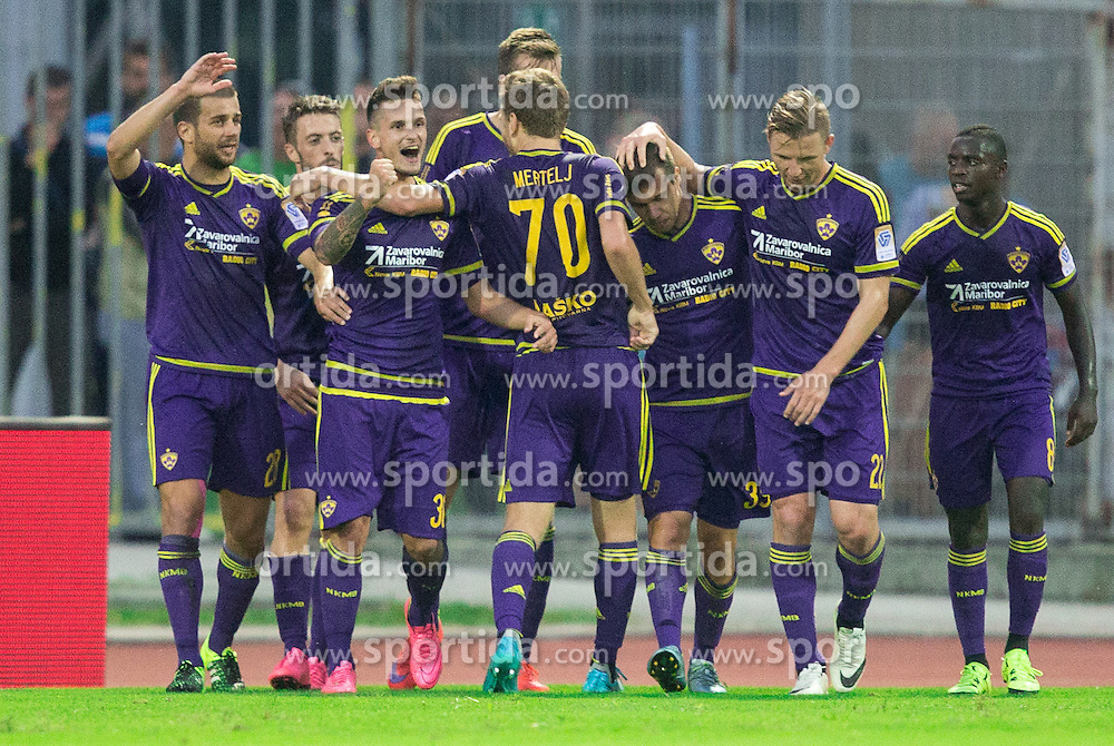 Players of Maribor celebrate during football match between ND Gorica and NK Maribor in 9th Round of Prva liga Telekom Slovenije 2015/16, on September 12, 2015, in Sports centrum Nova Gorica, Slovenia. Photo by Vid Ponikvar / Sportida