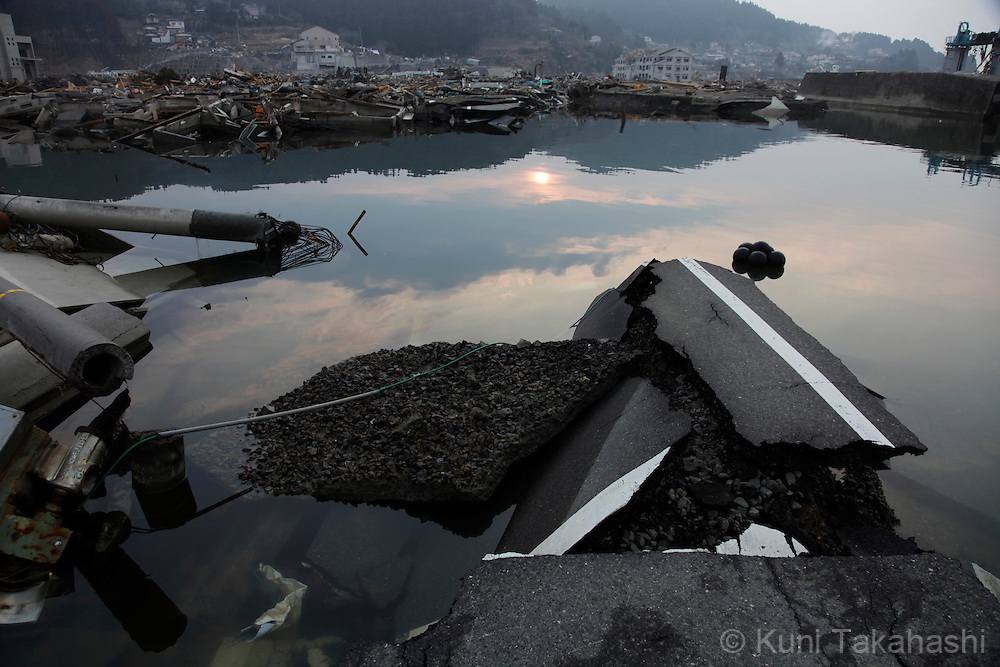Debris in Minamisanriku, Miyagi, Japan on March 31, 2011 after massive earthquake and tsunami hit northern Japan. More than 20,000 were killed by the disaster on March 11.<br /> Photo by Kuni Takahashi