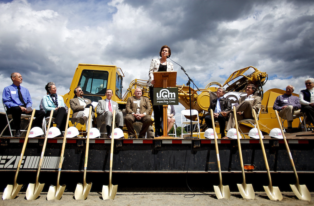 Idaho First Lady Lori Otter talks about the importance communities providing resources for those in need Thursday at the groundbreaking ceremony for the Union Gospel Mission Center for Women and Children in Coeur d'Alene.