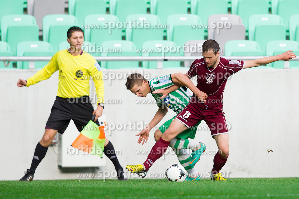 Rok Baskera #29 of Olimpija vs Matej Poplatnik #15 of Triglav during football match between NK Olimpija Ljubljana and NK Triglav Kranj in last 36st Round of Prva liga Telekom Slovenije 2012/13 on May 26, 2013 in SRC Stozice, Ljubljana, Slovenia. (Photo By Vid Ponikvar / Sportida)