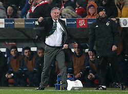 Northern Ireland manager Michael O'Neill reacts during the FIFA World Cup Qualifying second leg match at St Jakob Park, Basel.
