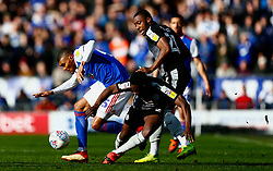 Andy Yiadom of Reading makes a tackle on Collin Quaner of Ipswich Town - Mandatory by-line: Phil Chaplin/JMP  <br /> - FOOTBALL - Portman Road - Ipswich, England - Ipswich Town v Reading - Sky Bet Championship