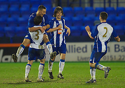 BIRKENHEAD, ENGLAND - Thursday, March 25, 2010: Wigan Athletic's Jordan Mustoe celebrates scoring the equalising goal against Liverpool during the FA Premiership Reserves League (Northern Division) match at Prenton Park. (Photo by David Rawcliffe/Propaganda)