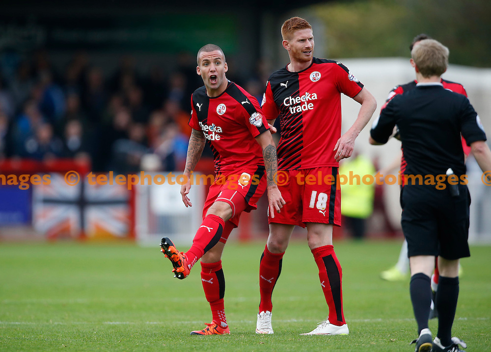 Crawley&rsquo;s Jimmy Smith  gestures to referee Gavin Ward during the Sky Bet League 2 match between Crawley Town and Luton Town at the Checkatrade.com Stadium in Crawley. October 17, 2015.<br /> James Boardman / Telephoto Images<br /> +44 7967 642437