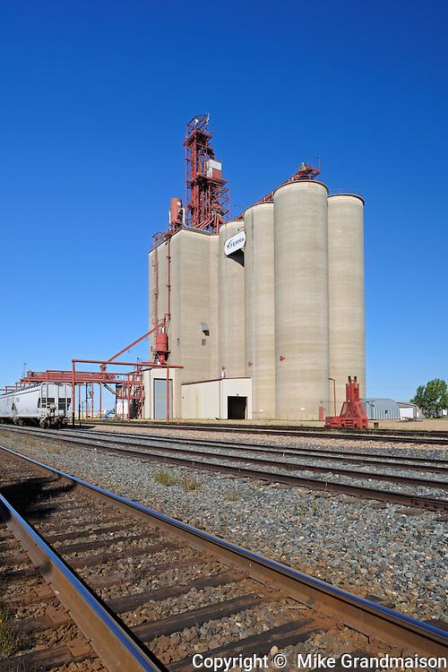 Inland grain terminal and railway tracks<br /> Maple Creek<br /> Saskatchewan<br /> Canada