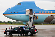 CAPE CANAVERAL, FL -  APRIL 15:  United States President Barack Obama enters Air Force One at the shuttle landing facility at Kennedy Space Center April 15, 2010 in Cape Canaveral. Obama was holding a summit to discuss the future of the space program. (Photo by Matt Stroshane/Getty Images)