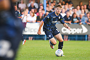 Leeds United midfielder Jordan Stevens (18) in action during the Pre-Season Friendly match between Guiseley  and Leeds United at Nethermoor Park, Guiseley, United Kingdom on 11 July 2019.