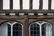 Thaxted north west Essex England: possibly the most colourful town in the country. July 2017<br /> <br /> Sir John Betjeman, poet laureate  wrote &quot;There is no town in north Essex &ndash; and very few in England &ndash; to equal in beauty, compactness and juxtaposition of medieval and Georgian architecture, than the town of Thaxted&quot;.<br /> <br /> Thaxted is possibly the most colourful town in England, nearly every house or business premises, some with heavy pargeting ( where walls covered with lime motar are heavilly decorated ) many dating back hundreds of years is painted in a different colour, some in subtle colours respecting the ancient history of the town and some in robust more modern colours reflecting the new arrivals.<br /> <br /> The English composer Gustav Holst wrote part of the 'The Planets' while living in Thaxted from 1917 onwards. &quot;Thaxted&quot; is a hymn tune by  Gustav Holst, based on the stately theme from the middle section of the Jupiter movement of his orchestral suite The Planets and named after Thaxted, the English village where he resided much of his life. He adapted the theme in 1921 to fit the patriotic poem &quot;I Vow to Thee, My Country&quot; by Cecil Spring Rice. It did not appear as a hymn-tune called &quot;Thaxted&quot; until his friend Ralph Vaughan Williams included it in Songs of Praise in 1926.