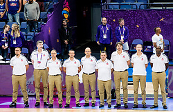 Coaches of Team France listening to the National anthem during basketball match between National Teams of Poland and France at Day 6 of the FIBA EuroBasket 2017 at Hartwall Arena in Helsinki, Finland on September 5, 2017. Photo by Vid Ponikvar / Sportida