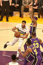 February 27, 2019 - Los Angeles, CA, U.S. - LOS ANGELES, CA - FEBRUARY 27: New Orleans Pelicans Forward Anthony Davis (23) in the paint during the first half of the New Orleans Pelicans versus Los Angeles Lakers game on February 27, 2019, at Staples Center in Los Angeles, CA. (Photo by Icon Sportswire) (Credit Image: © Icon Sportswire/Icon SMI via ZUMA Press)