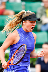PARIS, May 30, 2017  Elina Svitolina of Ukraine celebrates her point during the women's singles 1st round match against Yaroslava Shvedova of Kazakhstan at the French Open Tennis Tournament 2017 in Paris, France on May 30, 2017. (Credit Image: © Chen Yichen/Xinhua via ZUMA Wire)
