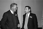 10/11/1964<br /> 11/10/1964<br /> 10 November 1964<br /> <br /> Mr J. Dooley and Mr. P O'Connell chatting at the R.G.D.A.T.A Annual event