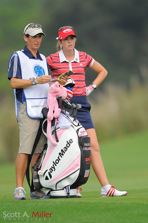 Paula Creamer and her caddie Colin Cann during the first round of the CME Group Titleholders at Grand Cypress Resort on Nov. 17, 2011 in Orlando, Fla.  ..©2011 Scott A. Miller