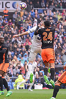 Real Madrid's Karim Benzema and Valencia CF's Ezequiel Garay during La Liga match between Real Madrid and Valencia CF at Santiago Bernabeu Stadium in Madrid, April 29, 2017. Spain.<br /> (ALTERPHOTOS/BorjaB.Hojas)